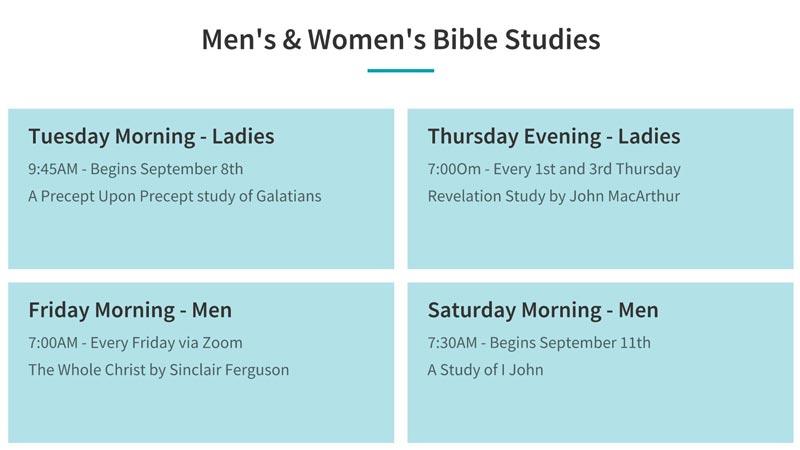 Men's and Women's Bible Study Schedule